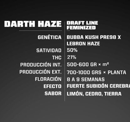 Info Feminized Cannabis Seeds Darth Haze
